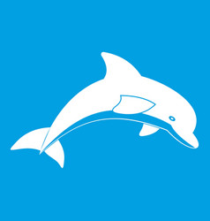 Jumping dolphin icon white vector