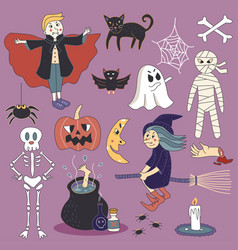 Cute spooky halloween ghost set vector