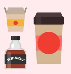 Whiskey bottle glass liquor scotch beverage whisky vector