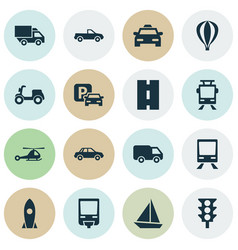 Transport icons set collection of airship vector