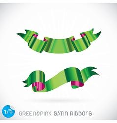 Green Pink Satin Ribbons vector image