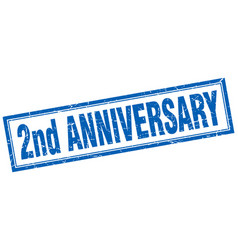 2nd anniversary square stamp vector