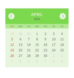Calendar monthly april 2015 in flat design vector