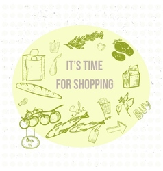 Doodle eco shopping banner eps10 vector
