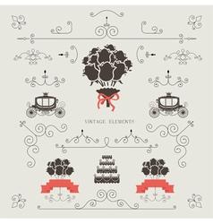 Set of vintage elements wedding invitation vector image