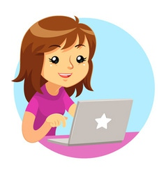 Girl wearing purple shirt using grey laptop vector