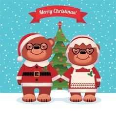 Santa Claus and his wife bears Christmas vector image