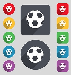 Football icon sign a set of 12 colored buttons and vector