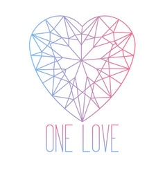 Line art heart stone cut vector