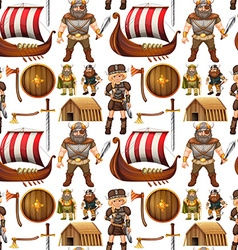 Seamless viking people and ship vector