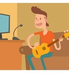 Young musician plays on the electric guitar vector
