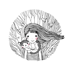 Beautiful young girl and a cute cat on a white vector