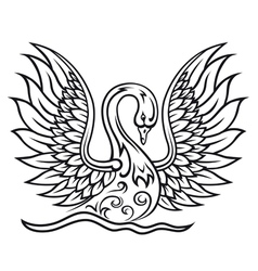 Elegant swan bird in vintage tracery style vector image