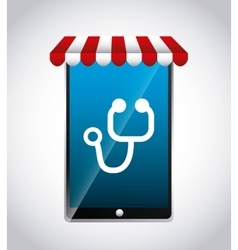 Smartphone and stethoscope icon medical and vector