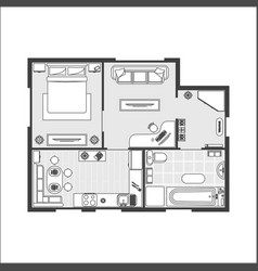 apartment plan witch furniture vector image vector image