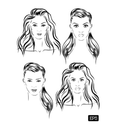 Beautiful woman face set hand drawn vector