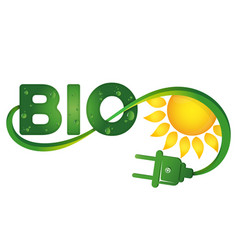 bio symbol with electric plug and sun vector image vector image