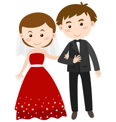 Bride and groom in wedding dress vector