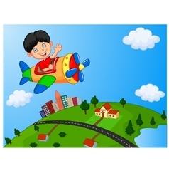 Cartoon boy riding airplane vector