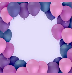 colored balloons on purple background vector image