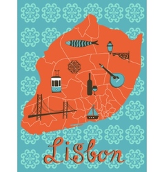 Colorful stylized map of lisbon with tipical icons vector