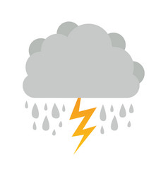 Cumulus cloud with rain and thunder vector