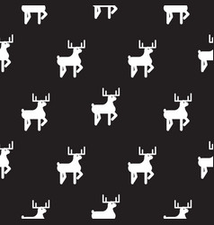 deer black and white kid silhouette pattern vector image vector image