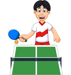 funny man cartoon playing table tennis vector image
