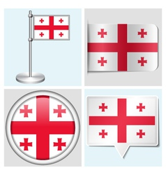 Georgia flag - sticker button label flagstaff vector image vector image