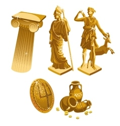 Greek Golden statues column shield and jugs vector image