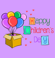 Happy childrens day colorful hand draw vector