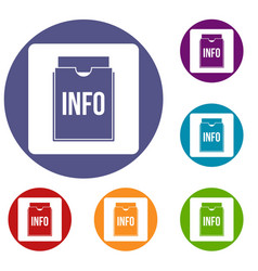 Info folder icons set vector