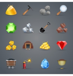 Mining game icons vector