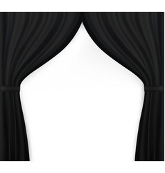 Naturalistic image of curtain open curtains black vector