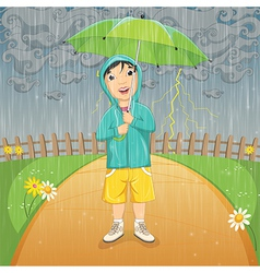 Of A Little Boy Under Umbrella vector image vector image