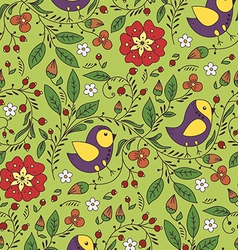 pattern with bird and flower vector image vector image