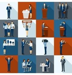 Politics icons set vector