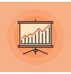 Presentation board and chart icon vector image vector image