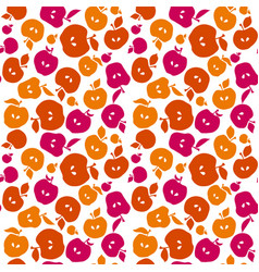 red color simple flat apple fruit seamless pattern vector image