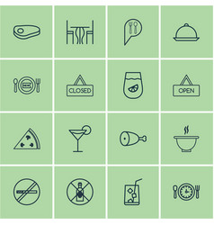 Set of 16 restaurant icons includes no drinking vector