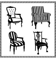 set of antique chairs silhouet vector image vector image