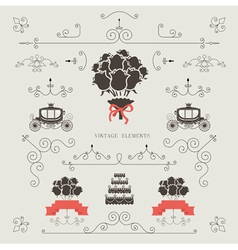 Set of vintage elements wedding invitation vector image