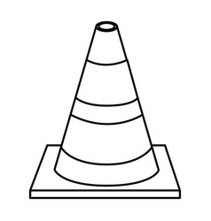 Silhouette striped traffic cone flat icon vector