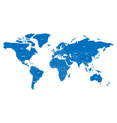Simplified map of world in blue schematic vector