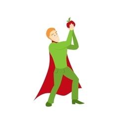 Superhero with apple icon vector image