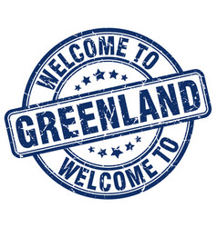 Welcome to greenland blue round vintage stamp vector