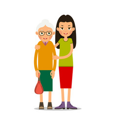 young girl helps an old woman vector image vector image