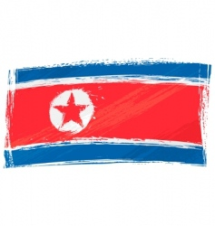 grunge North Korea flag vector image