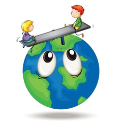 Kids playing on earth vector