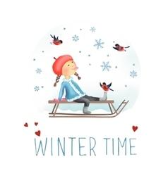Little girl on the sled vector image